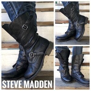 Steve Madden Combat Buckle Black Boots